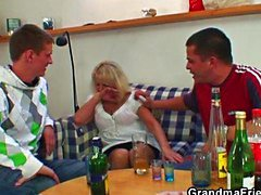 Drunk blonde granny in hot threesome orgy