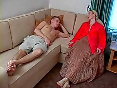 Tall mature blonde seduces not her son
