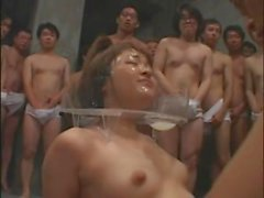 Astounding Japanese doll smudged in cumshot in group sex