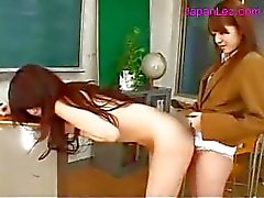 Teacher With Tiny Tits Sucking And Fucked With Strapon By Schoolgirl In The Classroom