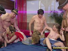 wild chicks first lederhosen gangbang