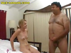 Fat hairy dudes bangs a flat chested gal with his tiny cock