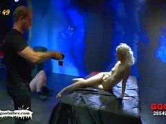 Skinny Blondie pounded hard and creamed