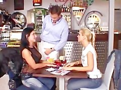 Sandy and Vica Threesome in Restaurant
