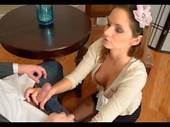 black pantyhose footjob in office