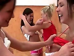 Schoolgirls with lust for sex fucking in lesbian gangbang