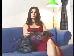 Brunette Lucy Lee is on the casting couch and has a foursome